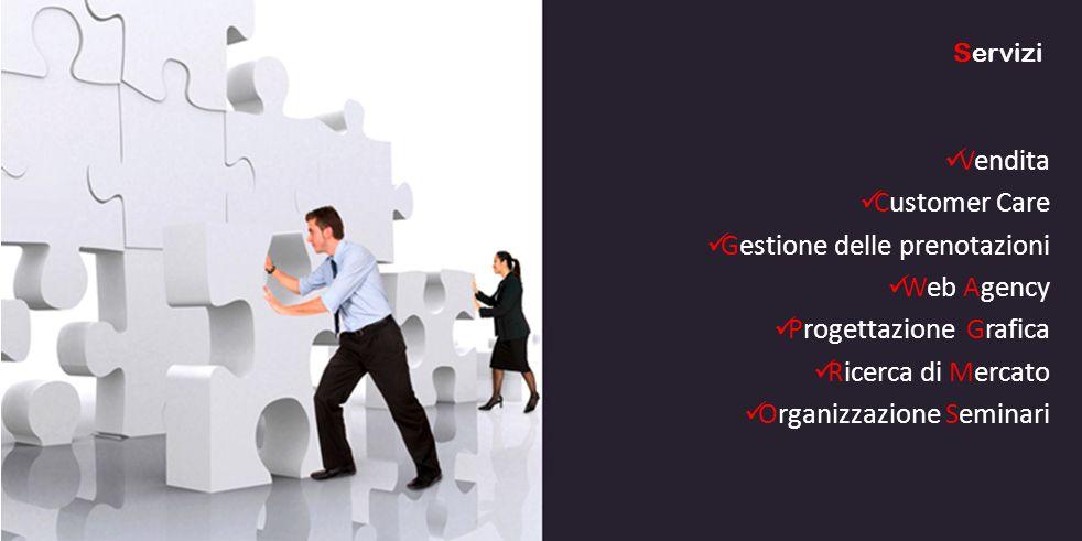 Vendita Customer Care Gestione delle prenotazioni Web Agency Progettazione Grafica Ricerca di Mercato Organizzazione Seminari Servizi
