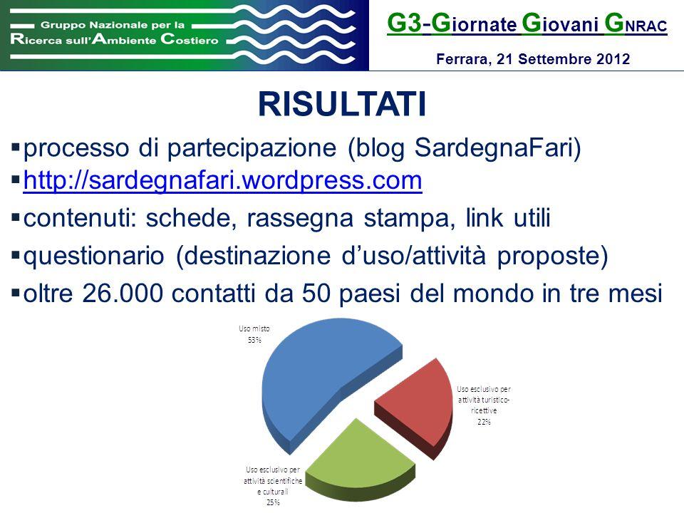 G3-G iornate G iovani G NRAC Ferrara, 21 Settembre 2012 RISULTATI processo di partecipazione (blog SardegnaFari) http://sardegnafari.wordpress.com con