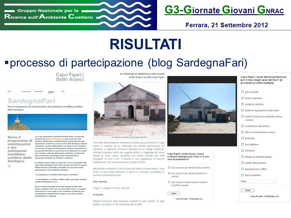 G3-G iornate G iovani G NRAC Ferrara, 21 Settembre 2012 RISULTATI processo di partecipazione (blog SardegnaFari)