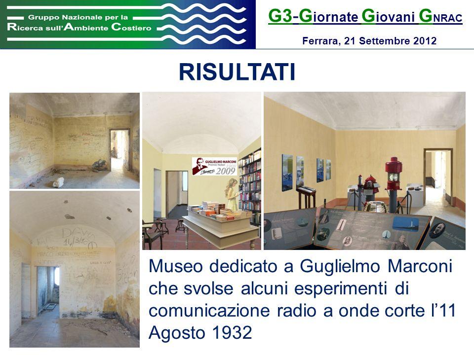 G3-G iornate G iovani G NRAC Ferrara, 21 Settembre 2012 RISULTATI Museo dedicato a Guglielmo Marconi che svolse alcuni esperimenti di comunicazione ra