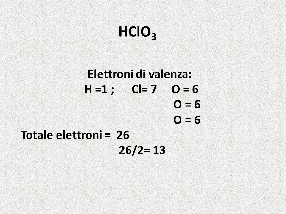 HClO 3 Elettroni di valenza: H =1 ; Cl= 7 O = 6 O = 6 Totale elettroni = 26 26/2= 13