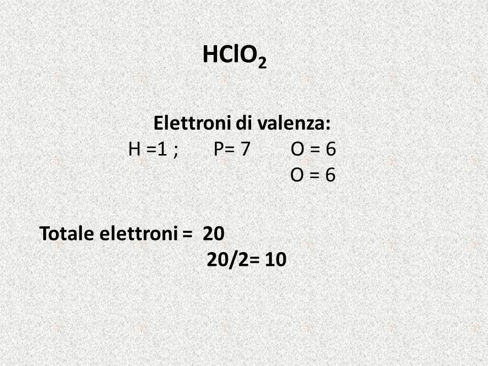 HClO 2 Elettroni di valenza: H =1 ; P= 7 O = 6 O = 6 Totale elettroni = 20 20/2= 10