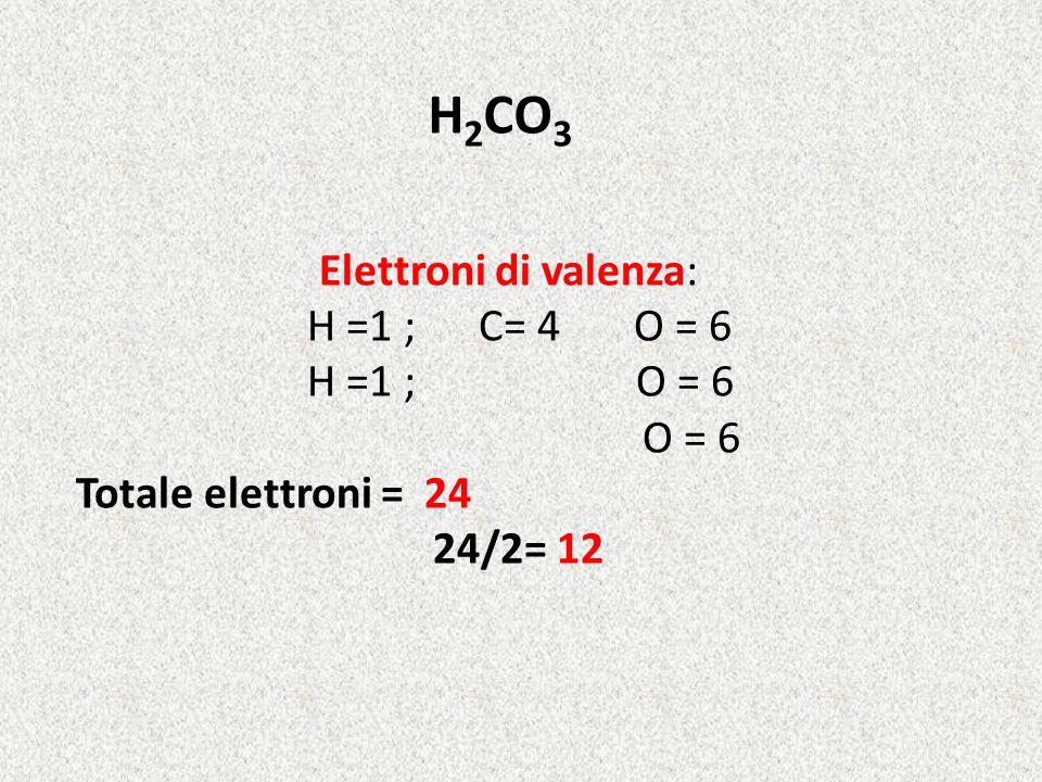 H 2 CO 3 Elettroni di valenza: H =1 ; C= 4 O = 6 H =1 ; O = 6 O = 6 Totale elettroni = 24 24/2= 12