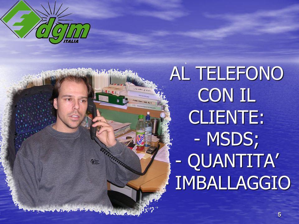 5 AL TELEFONO CON IL CLIENTE: - MSDS; - QUANTITA - IMBALLAGGIO