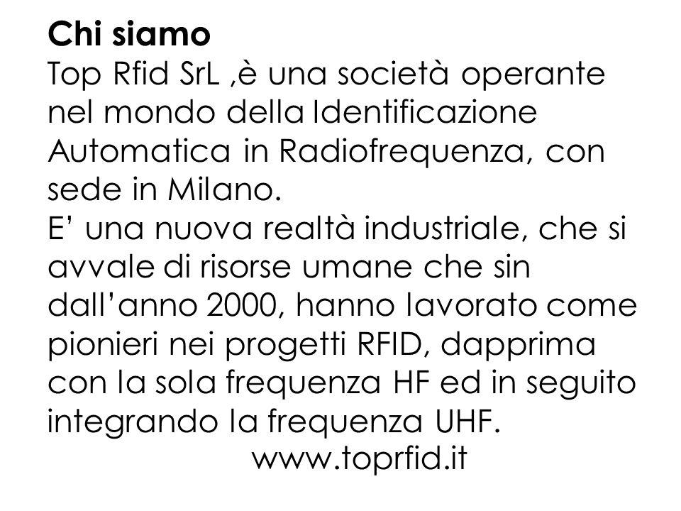 Chi siamo Top Rfid SrL,è una società operante nel mondo della Identificazione Automatica in Radiofrequenza, con sede in Milano.