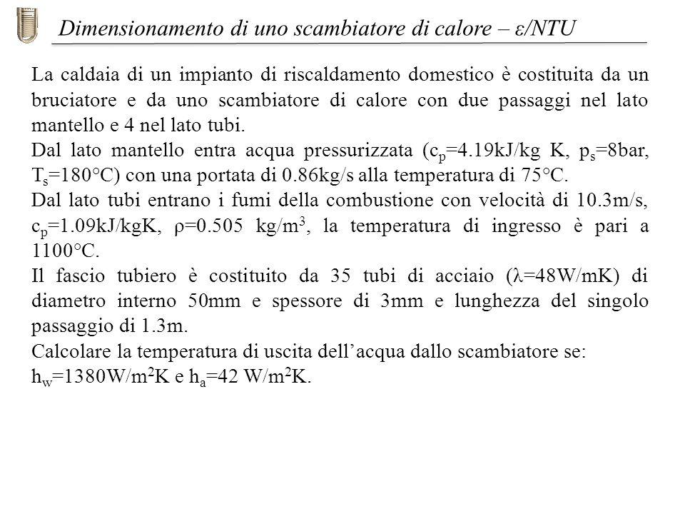 Iniziamo con il calcolo di R: Dimensionamento di uno scambiatore di calore – ε/NTU