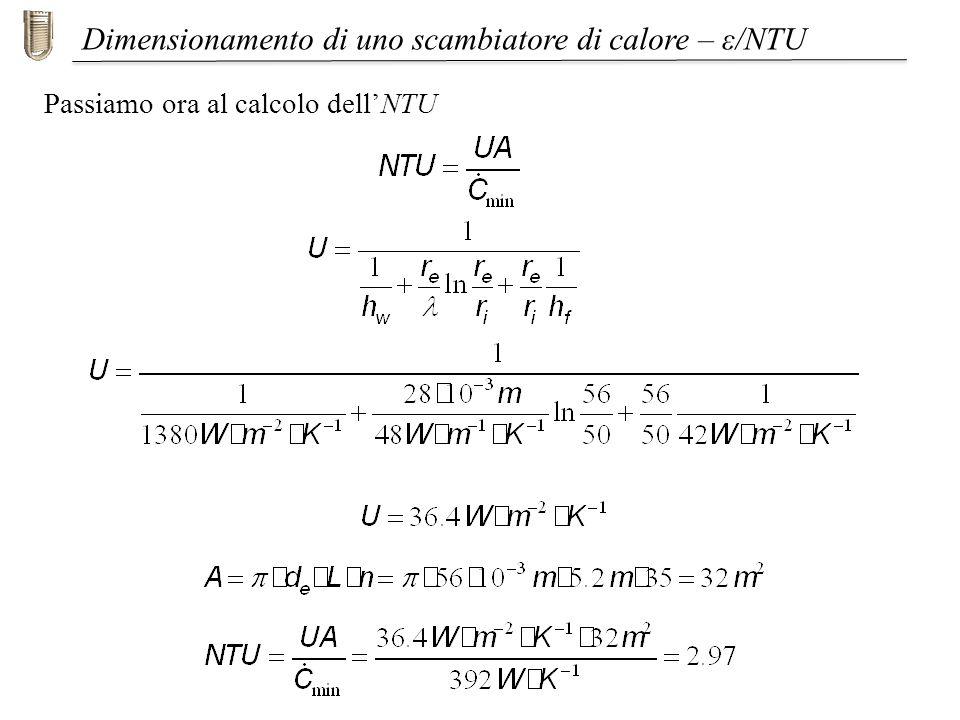 Passiamo ora al calcolo dellNTU Dimensionamento di uno scambiatore di calore – ε/NTU