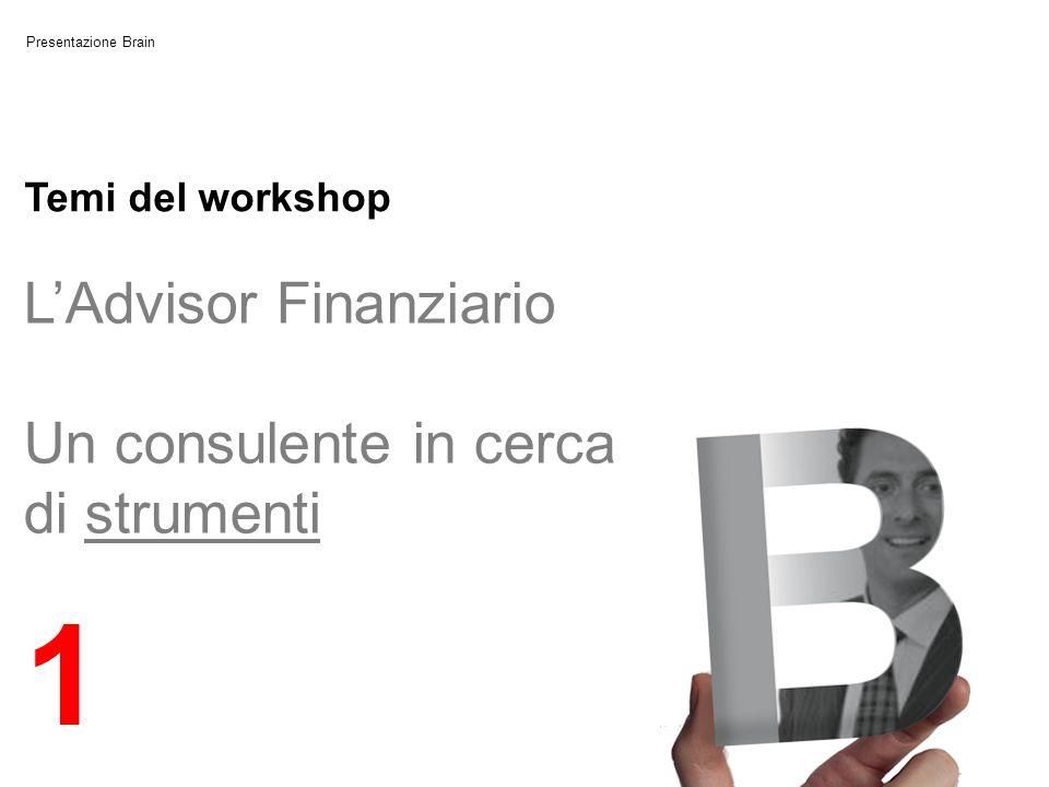 Presentazione Brain LAdvisor Finanziario Un consulente in cerca di strumenti 1 Temi del workshop