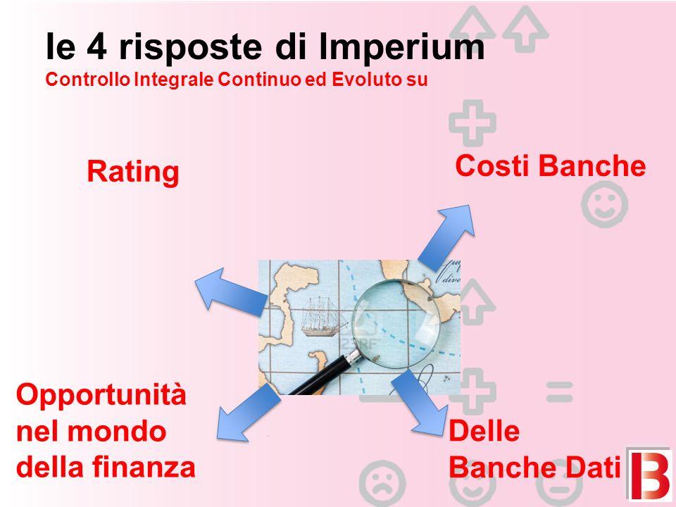 Ie 4 risposte di lmperium Controllo Integrale Continuo ed Evoluto su Rating Costi Banche Delle Banche Dati Opportunità nel mondo della finanza