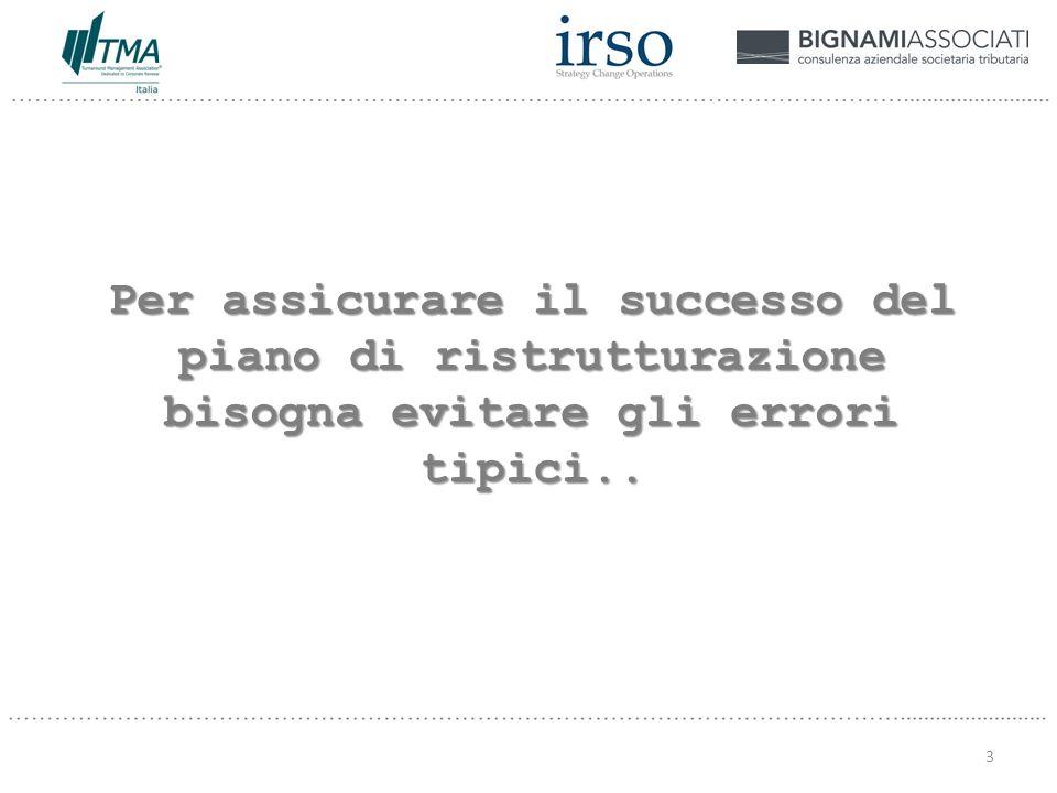 Per assicurare il successo del piano di ristrutturazione bisogna evitare gli errori tipici.. 3