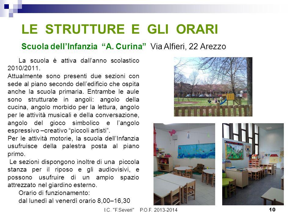 LE STRUTTURE E GLI ORARI Scuola dellInfanzia A. Curina Via Alfieri, 22 Arezzo La scuola è attiva dallanno scolastico 2010/2011. Attualmente sono prese