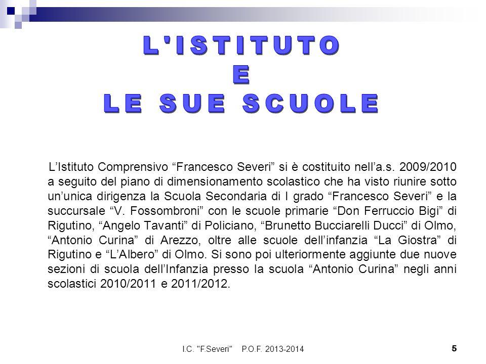 LIstituto Comprensivo Francesco Severi si è costituito nella.s. 2009/2010 a seguito del piano di dimensionamento scolastico che ha visto riunire sotto