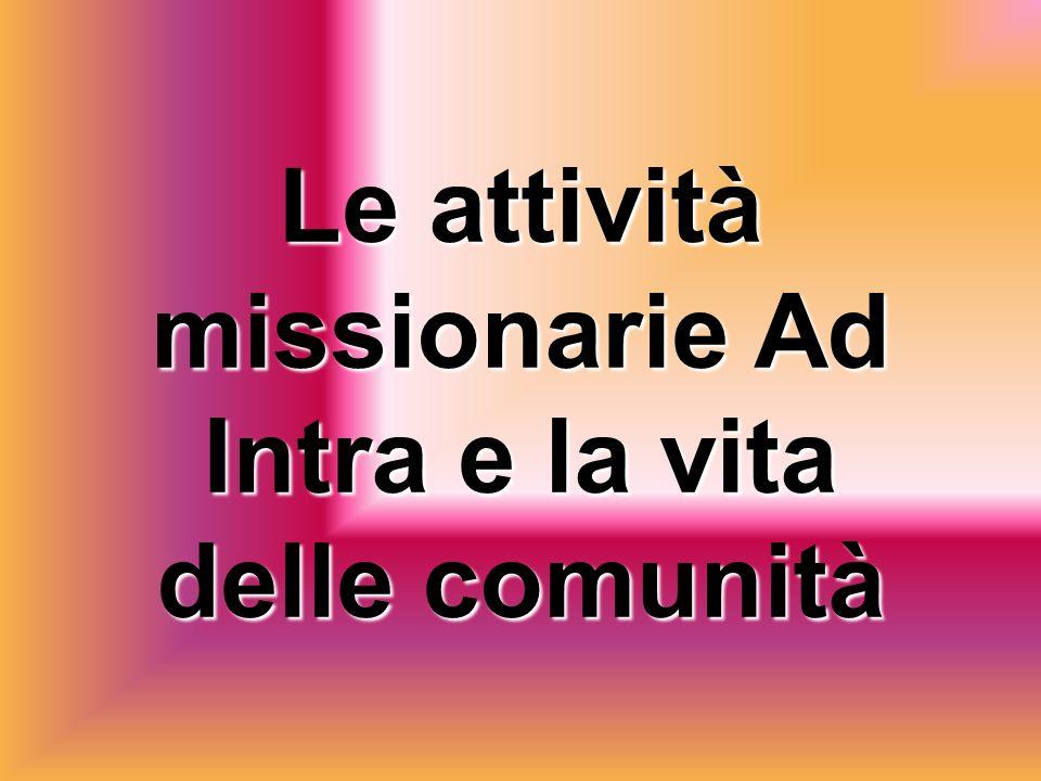 Le attività missionarie Ad Intra e la vita delle comunità