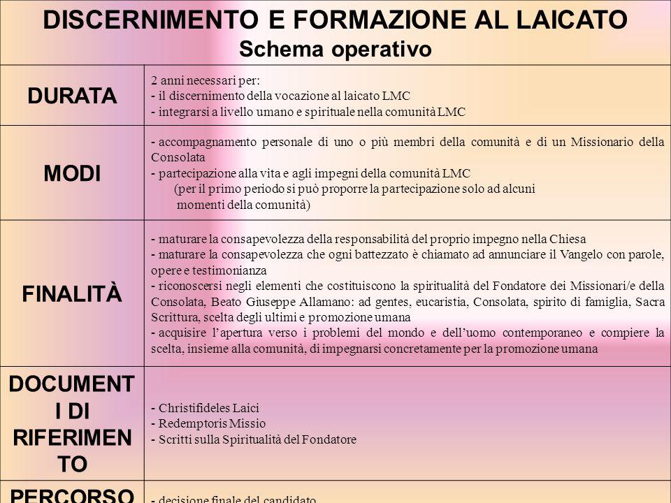 DISCERNIMENTO E FORMAZIONE AL LAICATO Schema operativo DURATA 2 anni necessari per: - il discernimento della vocazione al laicato LMC - integrarsi a l