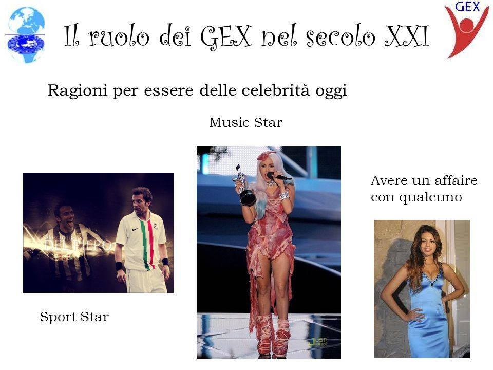 Il ruolo dei GEX nel secolo XXI Ragioni per essere delle celebrità oggi Sport Star Music Star Avere un affaire con qualcuno