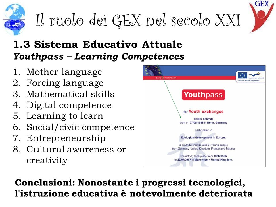 Il ruolo dei GEX nel secolo XXI 1.3 Sistema Educativo Attuale Youthpass – Learning Competences 1.Mother language 2.Foreing language 3.Mathematical skills 4.Digital competence 5.Learning to learn 6.Social/civic competence 7.Entrepreneurship 8.Cultural awareness or creativity Conclusioni: Nonostante i progressi tecnologici, l istruzione educativa è notevolmente deteriorata