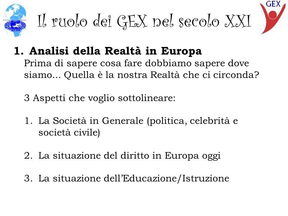 Il ruolo dei GEX nell secolo XXI 1.3 Sistema Educativo Attuale Molti Cambiamenti in pochi anni Si rende riconoscenza allEducazione Non Formale (+) Ormai non si valuta il sapere, si valuta il sapere fare (siamo passati da un estremo allaltro) Si manca di rispetto agli insegnanti La fatica non è più un valore importante Rapporto PISA: PISA = Programme for International Student Assessment Si valutano le competenze (saper fare più che sapere) Le statistiche non sono positive in Italia e Spagna Valutazione di competenze in EU = Youthpass