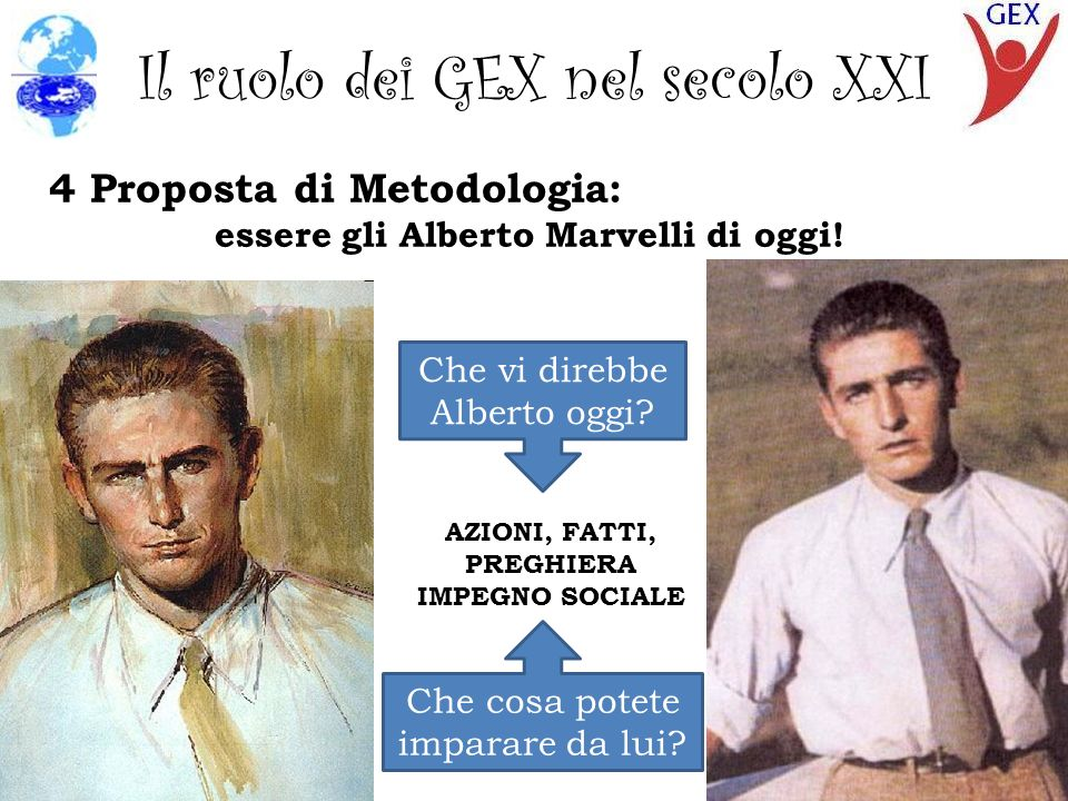 Il ruolo dei GEX nel secolo XXI 4 Proposta di Metodologia: essere gli Alberto Marvelli di oggi.