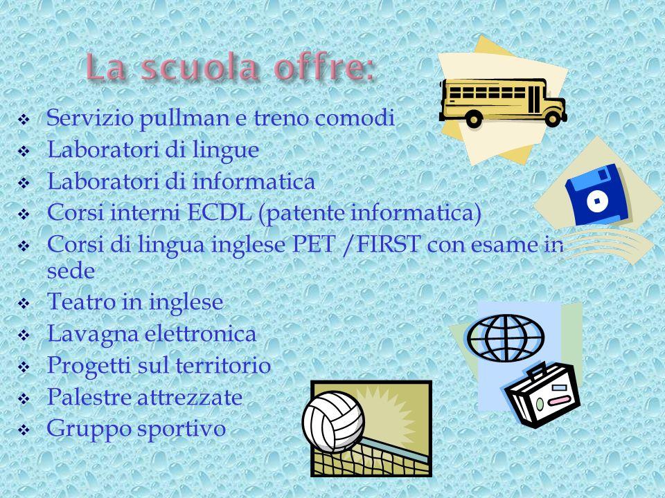 Servizio pullman e treno comodi Laboratori di lingue Laboratori di informatica Corsi interni ECDL (patente informatica) Corsi di lingua inglese PET /F