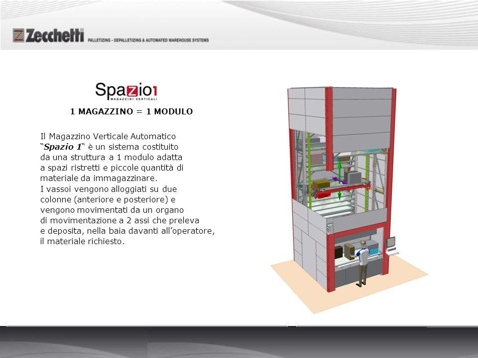 Il Magazzino Verticale Automatico Spazio 1 è un sistema costituito da una struttura a 1 modulo adatta a spazi ristretti e piccole quantità di material