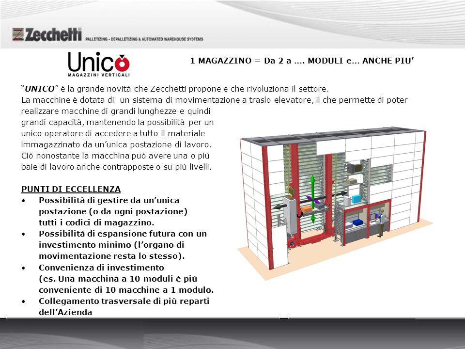 UNICO è la grande novità che Zecchetti propone e che rivoluziona il settore. La macchine è dotata di un sistema di movimentazione a traslo elevatore,