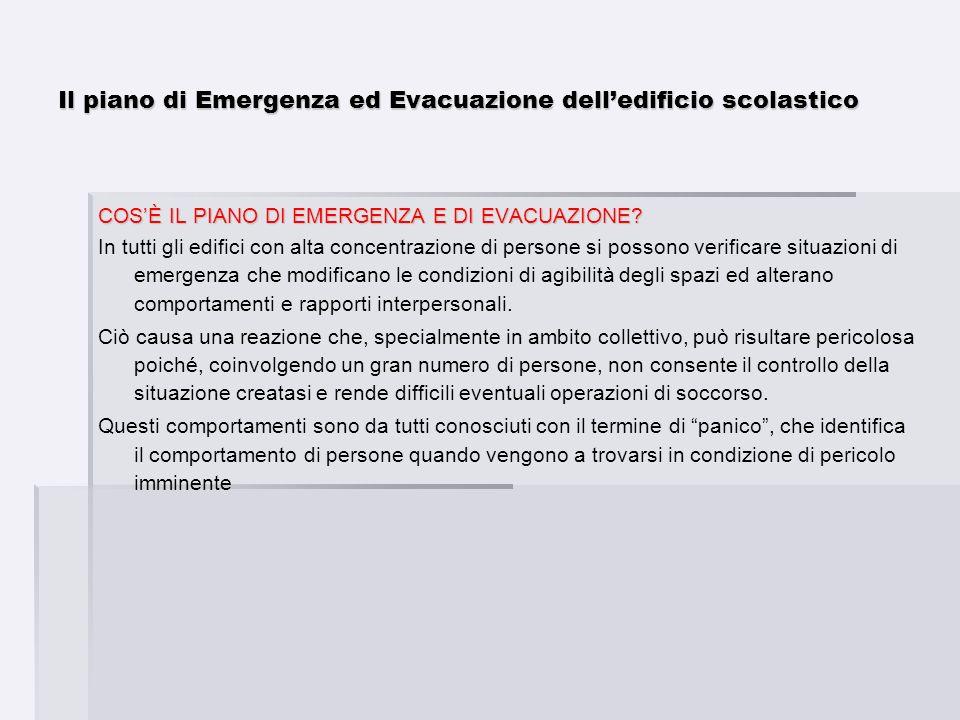 Il piano di Emergenza ed Evacuazione delledificio scolastico COSÈ IL PIANO DI EMERGENZA E DI EVACUAZIONE? In tutti gli edifici con alta concentrazione