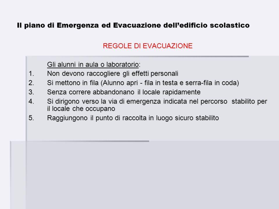Il piano di Emergenza ed Evacuazione delledificio scolastico REGOLE DI EVACUAZIONE Gli alunni in aula o laboratorio: 1.Non devono raccogliere gli effe
