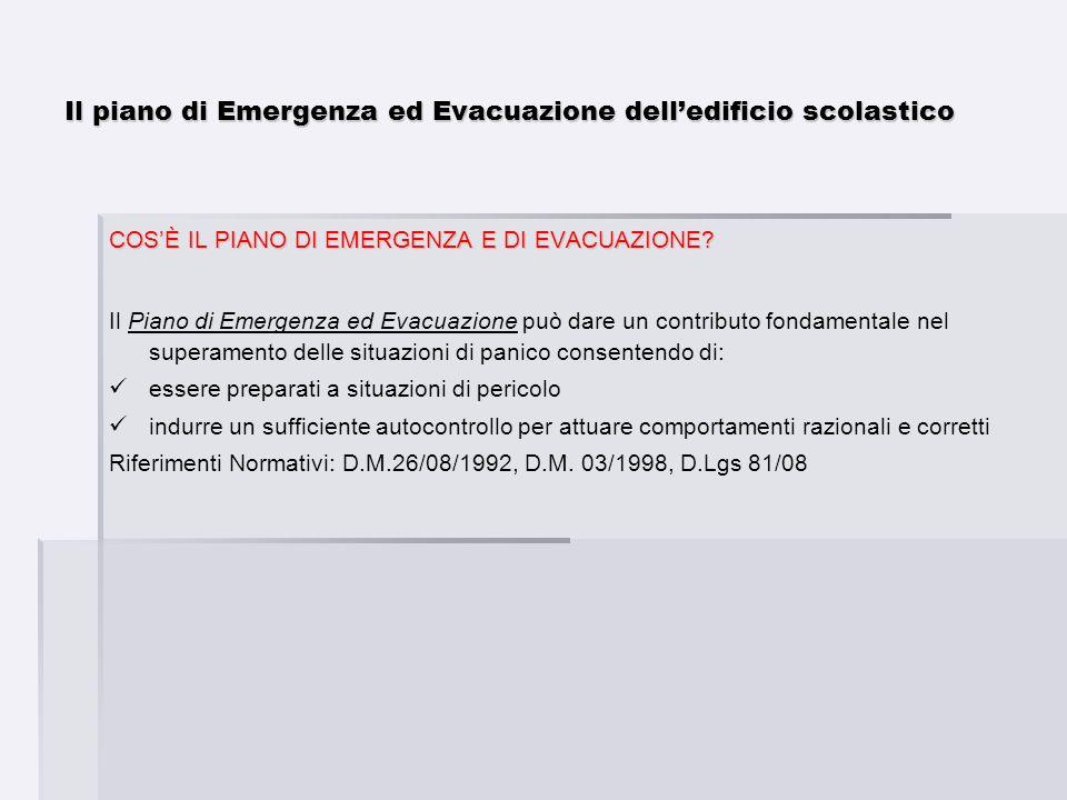 Il piano di Emergenza ed Evacuazione delledificio scolastico COSÈ IL PIANO DI EMERGENZA E DI EVACUAZIONE? Il Piano di Emergenza ed Evacuazione può dar