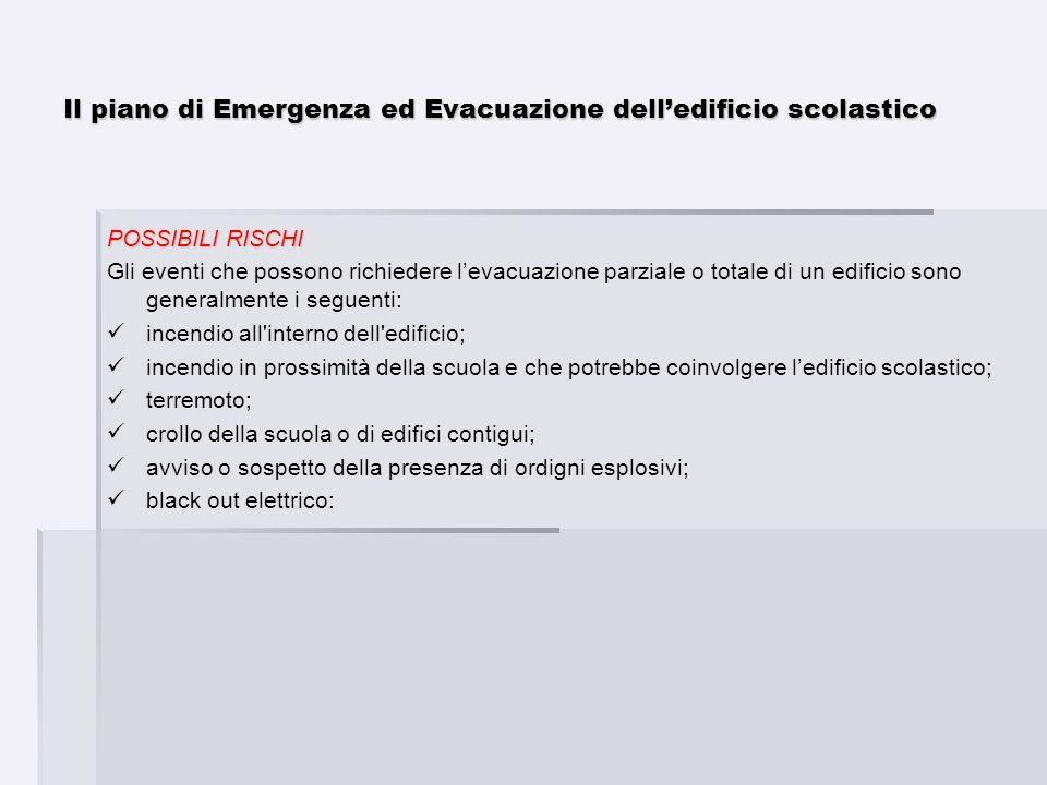 Il piano di Emergenza ed Evacuazione delledificio scolastico POSSIBILI RISCHI Gli eventi che possono richiedere levacuazione parziale o totale di un e