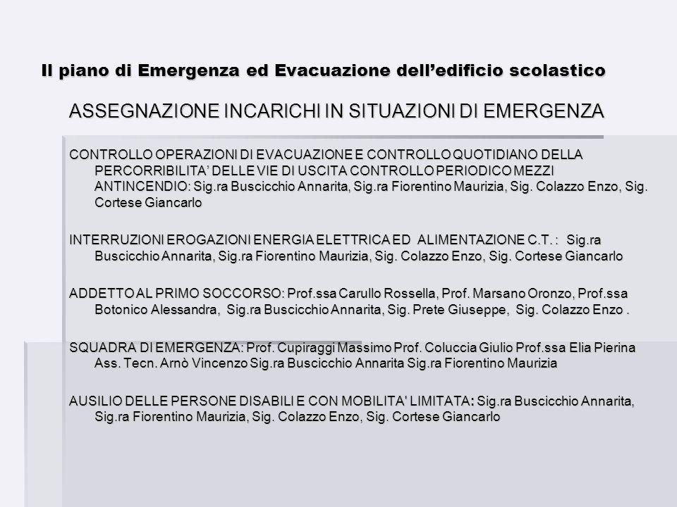 Il piano di Emergenza ed Evacuazione delledificio scolastico ASSEGNAZIONE INCARICHI IN SITUAZIONI DI EMERGENZA CONTROLLO OPERAZIONI DI EVACUAZIONE E C