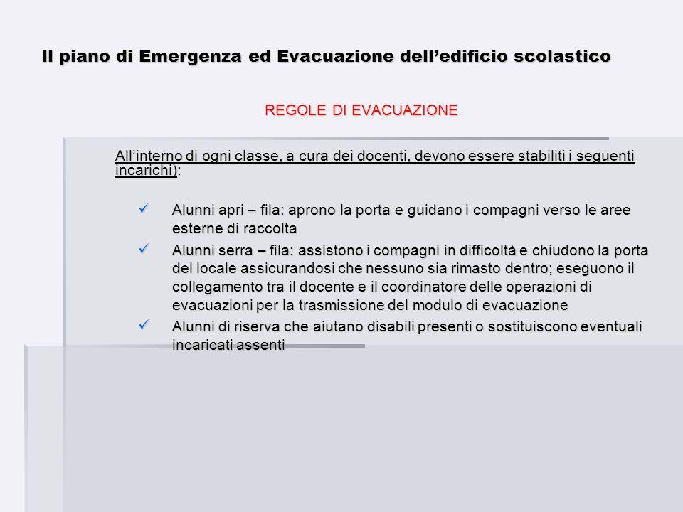 Il piano di Emergenza ed Evacuazione delledificio scolastico REGOLE DI EVACUAZIONE Allinterno di ogni classe, a cura dei docenti, devono essere stabil