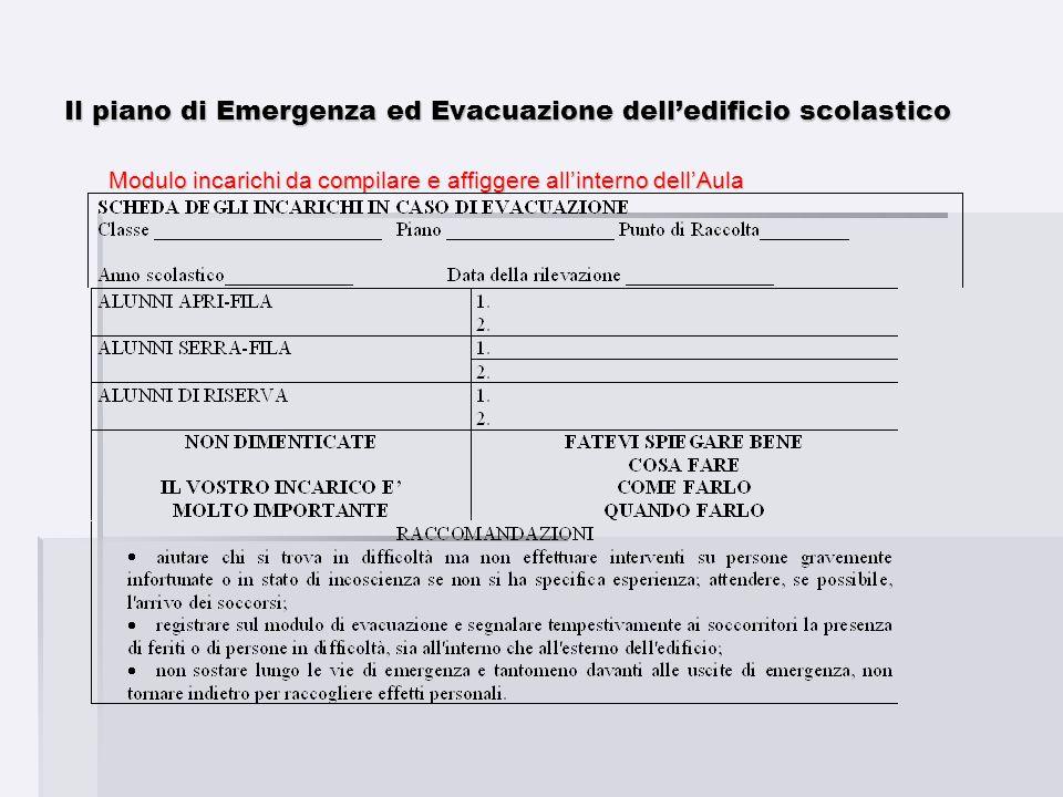 Modulo incarichi da compilare e affiggere allinterno dellAula Il piano di Emergenza ed Evacuazione delledificio scolastico