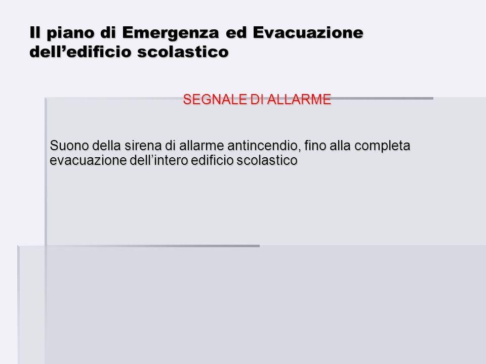 SEGNALE DI ALLARME Suono della sirena di allarme antincendio, fino alla completa evacuazione dellintero edificio scolastico