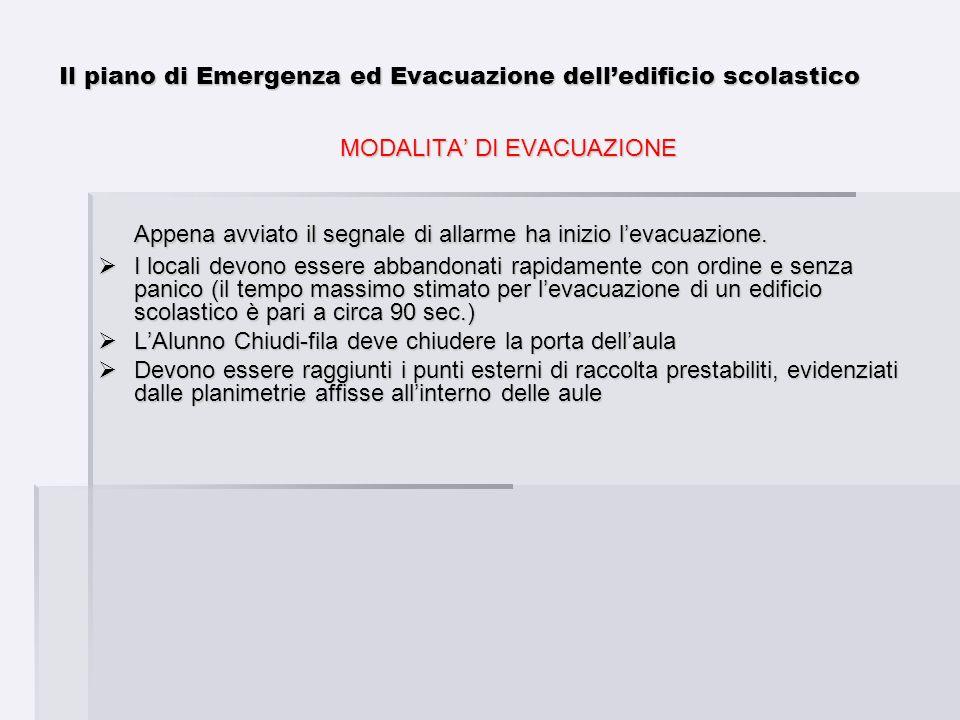Il piano di Emergenza ed Evacuazione delledificio scolastico MODALITA DI EVACUAZIONE Appena avviato il segnale di allarme ha inizio levacuazione. I lo