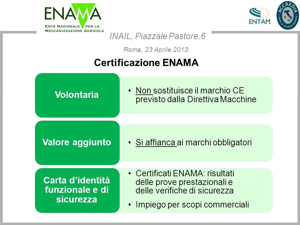Certificazione ENAMA Non sostituisce il marchio CE previsto dalla Direttiva Macchine Volontaria Si affianca ai marchi obbligatori Valore aggiunto Cert