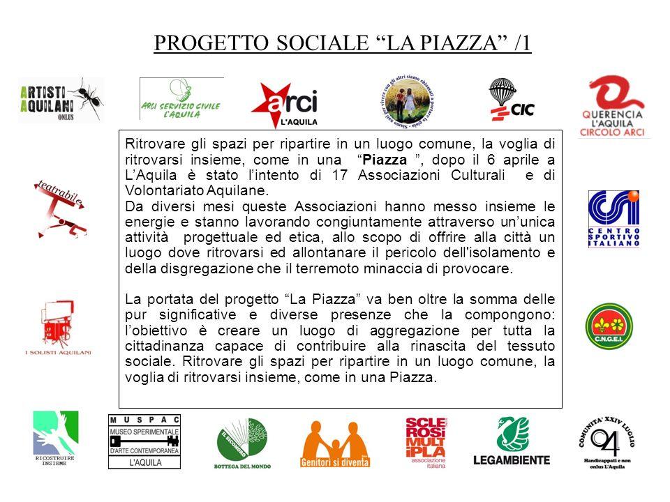 PROGETTO SOCIALE LA PIAZZA /2 Ciascuna associazione si è attivata subito dopo il 6 Aprile 2009 per raccogliere i fondi necessari alla realizzazione delle sedi.