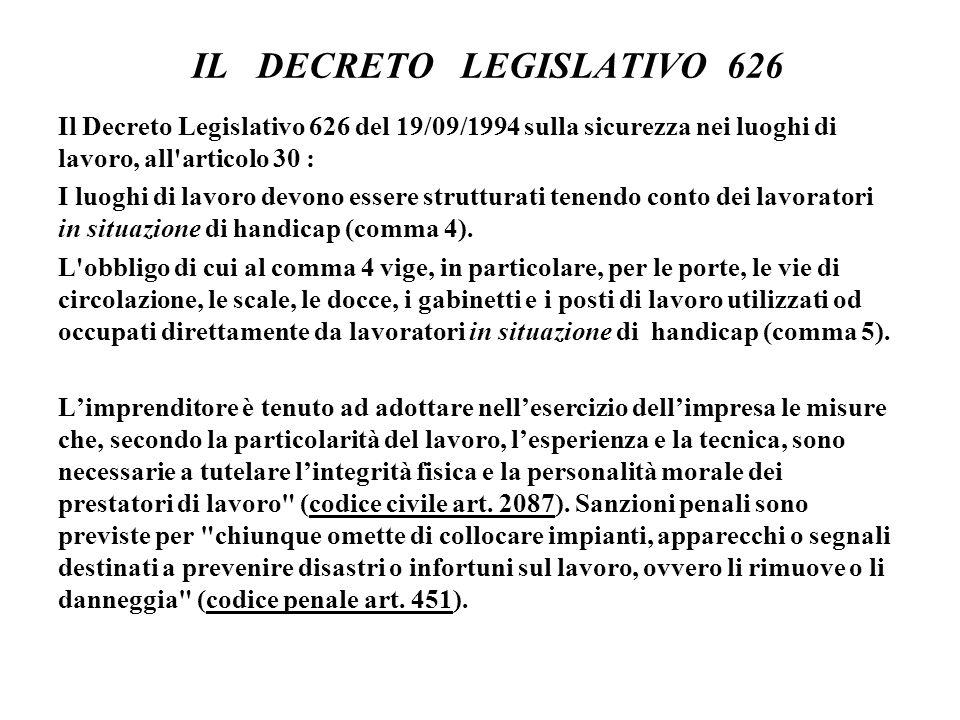 IL DECRETO LEGISLATIVO 626 Il Decreto Legislativo 626 del 19/09/1994 sulla sicurezza nei luoghi di lavoro, all articolo 30 : I luoghi di lavoro devono essere strutturati tenendo conto dei lavoratori in situazione di handicap (comma 4).