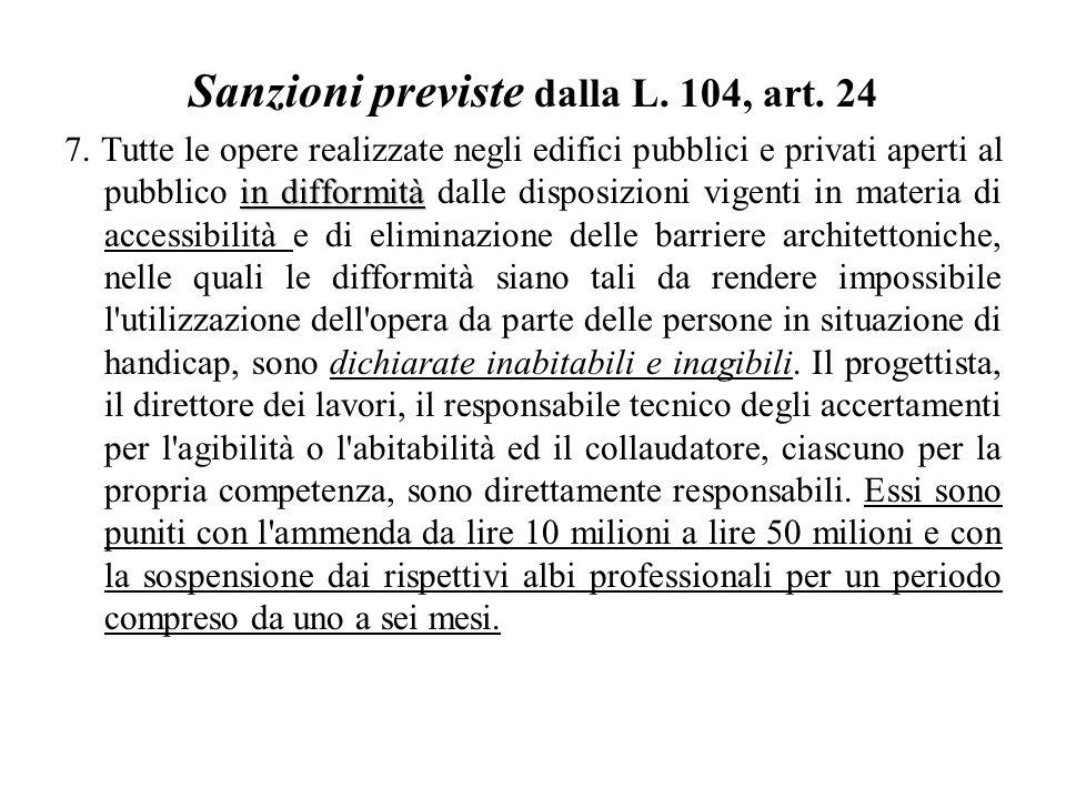 Sanzioni previste dalla L.104, art. 24 in difformità 7.