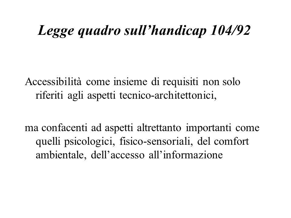 Legge quadro sullhandicap 104/92 Accessibilità come insieme di requisiti non solo riferiti agli aspetti tecnico-architettonici, ma confacenti ad aspetti altrettanto importanti come quelli psicologici, fisico-sensoriali, del comfort ambientale, dellaccesso allinformazione