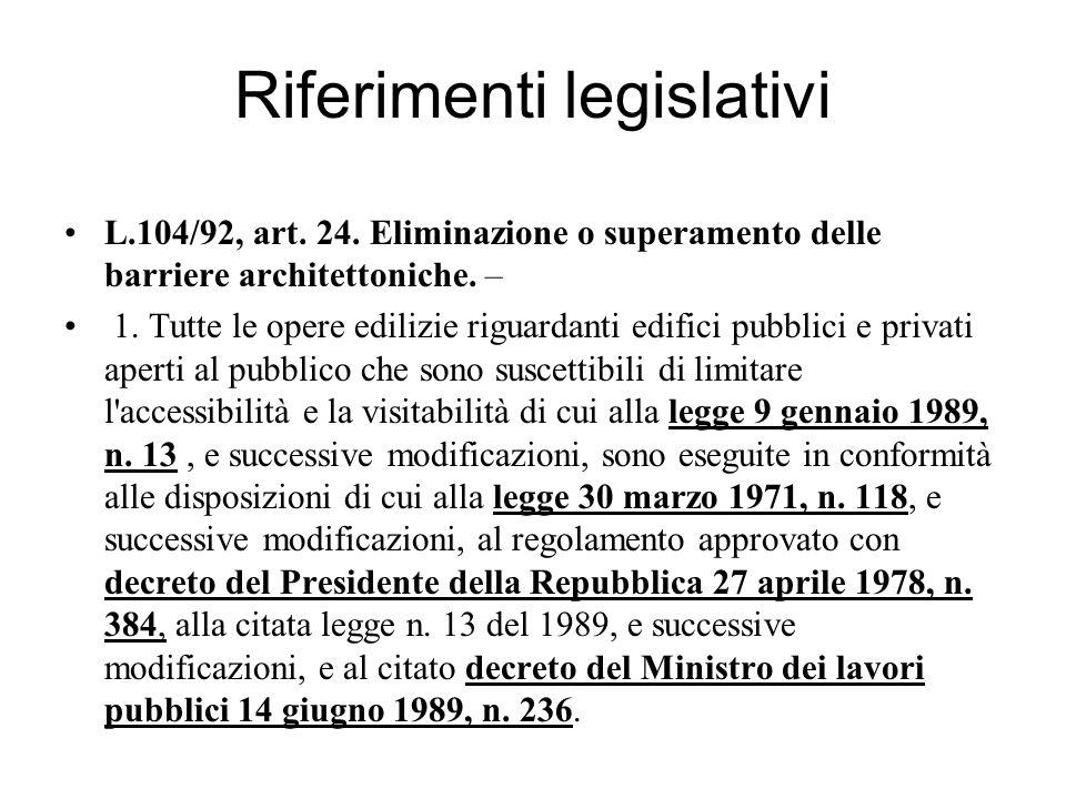 Riferimenti legislativi L.104/92, art.24.