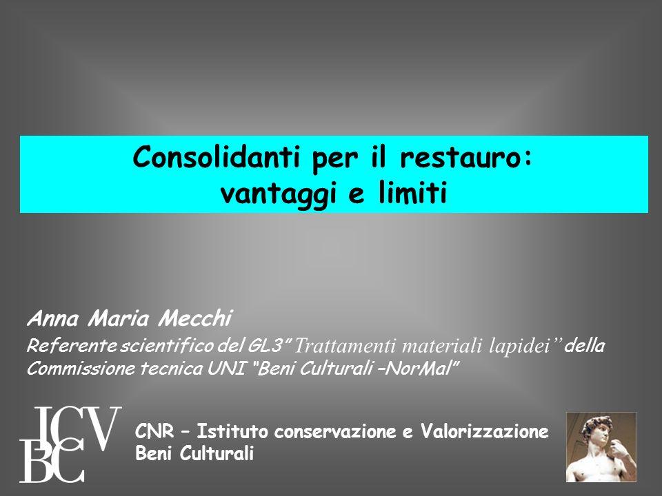 Consolidanti per il restauro: vantaggi e limiti Anna Maria Mecchi Referente scientifico del GL3 Trattamenti materiali lapidei della Commissione tecnic