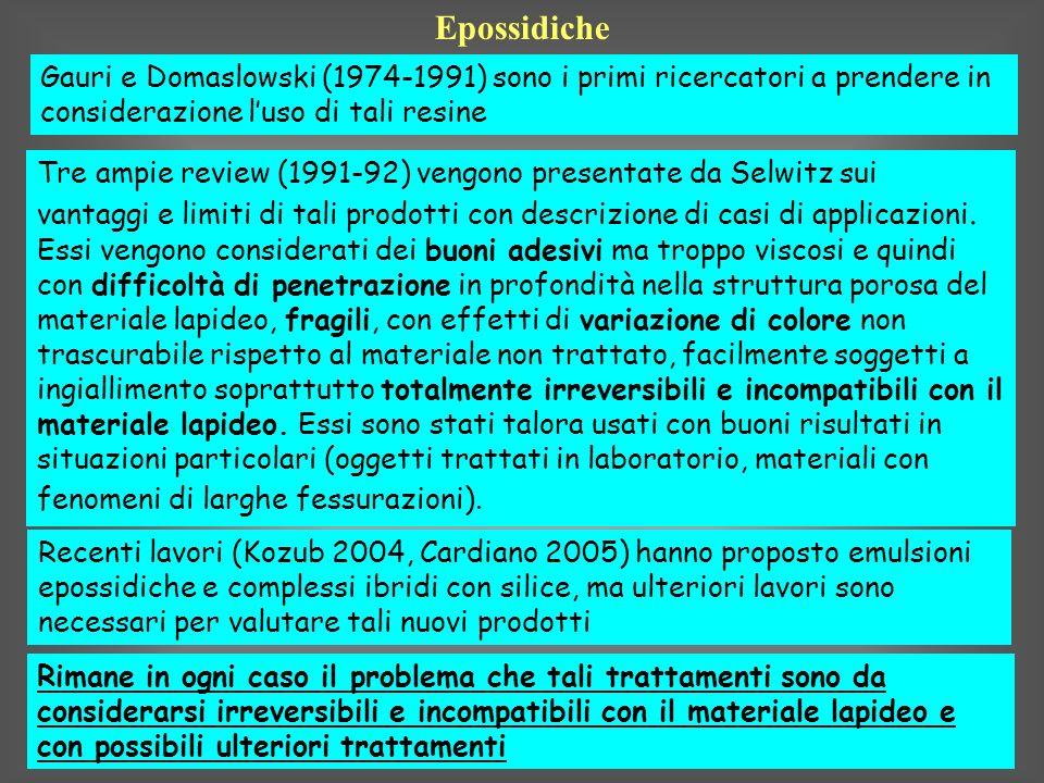Epossidiche Gauri e Domaslowski (1974-1991) sono i primi ricercatori a prendere in considerazione luso di tali resine Tre ampie review (1991-92) vengo
