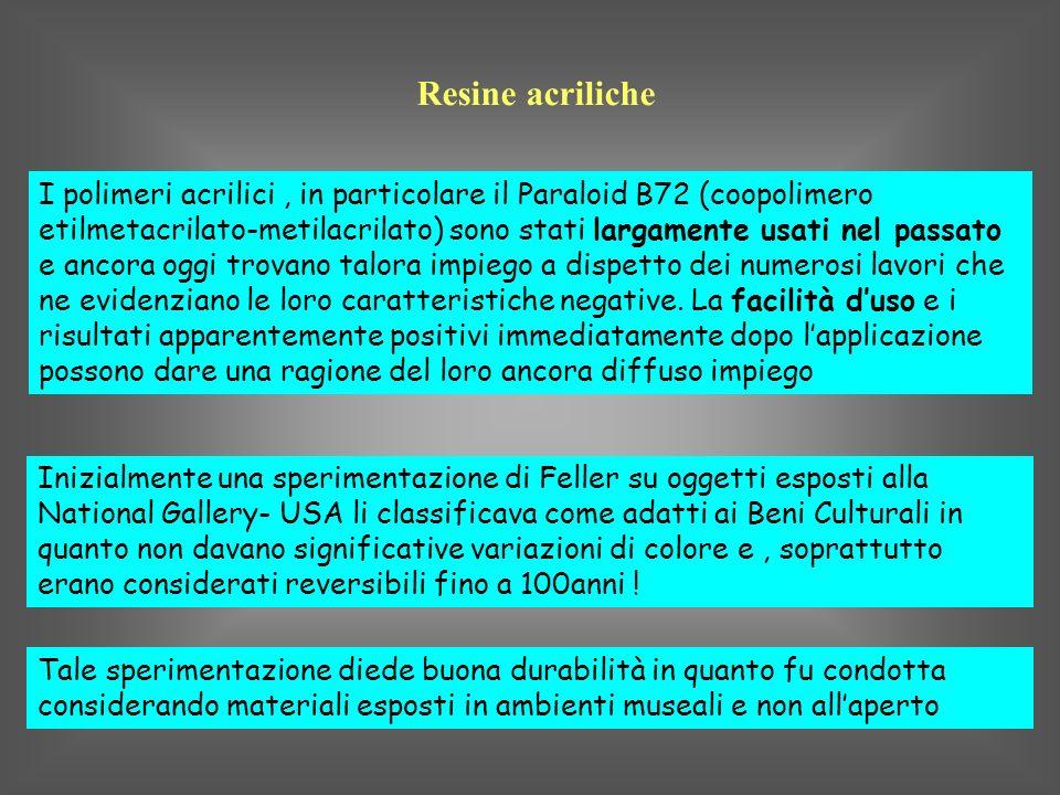 Resine acriliche I polimeri acrilici, in particolare il Paraloid B72 (coopolimero etilmetacrilato-metilacrilato) sono stati largamente usati nel passa
