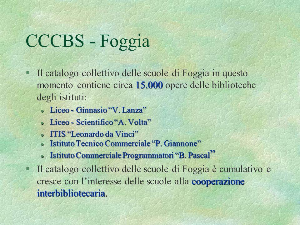 §Il catalogo collettivo delle scuole di Foggia in questo momento contiene circa 15.000 15.000 opere delle biblioteche degli istituti: l Liceo l Liceo