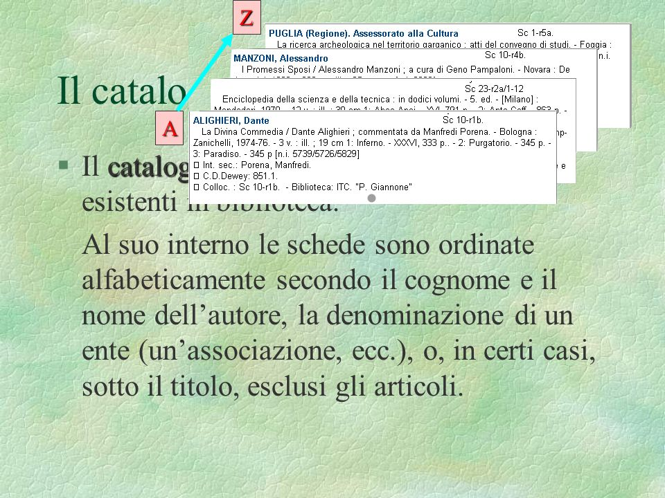 Il catalogo per autori §I§Il c cc catalogo per autori elenca tutte le opere esistenti in biblioteca. Al suo interno le schede sono ordinate alfabetica
