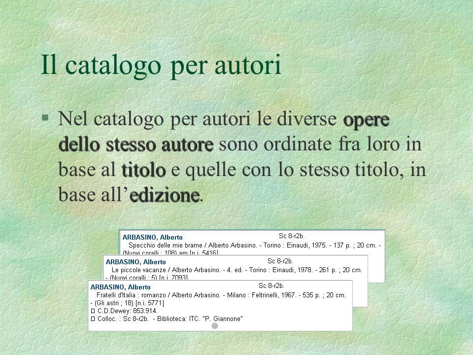 Il catalogo per autori §N§Nel catalogo per autori le diverse o oo opere dello stesso autore sono ordinate fra loro in base al titolo e quelle con lo s