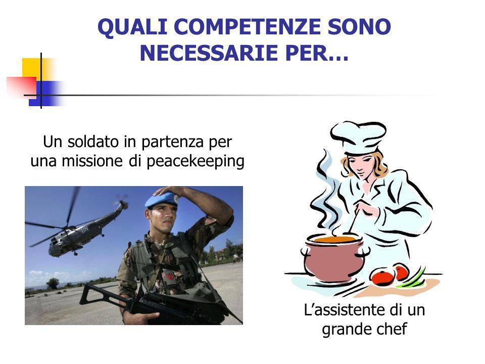 QUALI COMPETENZE SONO NECESSARIE PER… Lassistente di un grande chef Un soldato in partenza per una missione di peacekeeping