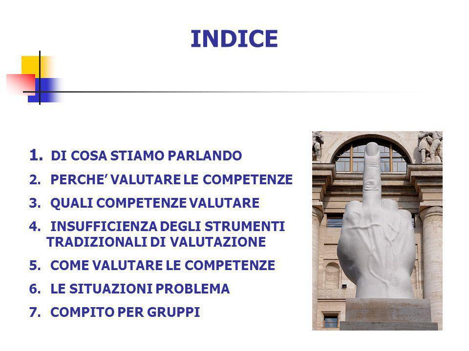 INDICE 1. DI COSA STIAMO PARLANDO 2. PERCHE VALUTARE LE COMPETENZE 3. QUALI COMPETENZE VALUTARE 4. INSUFFICIENZA DEGLI STRUMENTI TRADIZIONALI DI VALUT