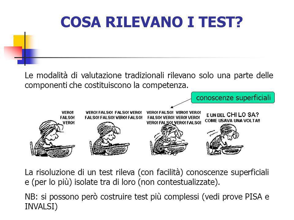 COSA RILEVANO I TEST? La risoluzione di un test rileva (con facilità) conoscenze superficiali e (per lo più) isolate tra di loro (non contestualizzate