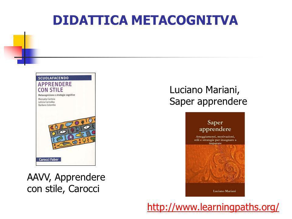 DIDATTICA METACOGNITVA http://www.learningpaths.org/ Luciano Mariani, Saper apprendere AAVV, Apprendere con stile, Carocci